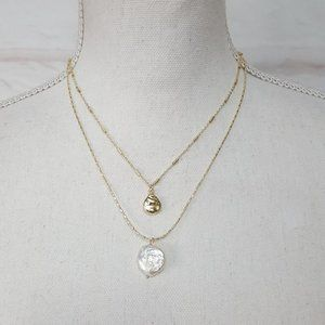 Layered Necklace Pearl Pendant Gold